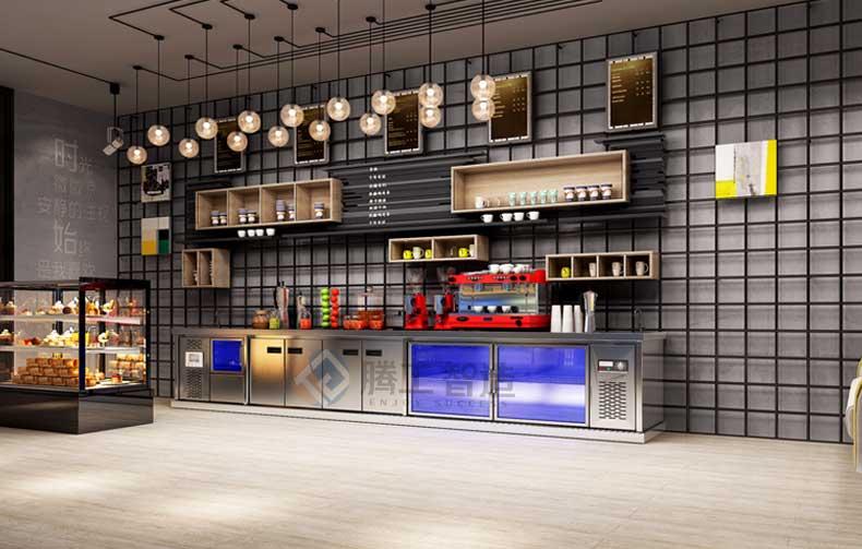现代风格咖啡店水吧台定制、设备摆放布局