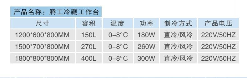 冷藏台产品参数