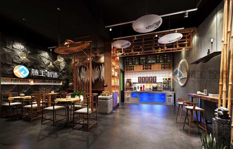 新中式奶茶店铺设计效果图