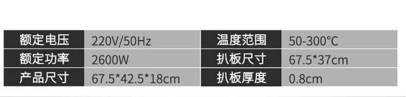 额定电压:220V/50Hz,温度范围:50~300℃,额定功率:2600W,扒板尺寸:67.5*37cm,产品尺寸:67.5*42.5*18cm,扒板百度:0.8cm